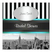NYC Skyline BW Blk Wht Strp Teal P Bridal Shower Custom Invite