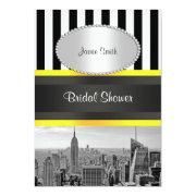 Nyc Skyline Bw Blk Wht Strp Yellow P Bridal Shower