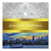 NYC Sunset Skyline ESB White Damask Bridal Shower Announcements