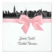 NYC Wide Skyline Etched BW Pink Bridal Shower SQ Invites