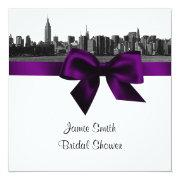 Nyc Wide Skyline Etched Bw Purple Bridal Shower Sq Invitations