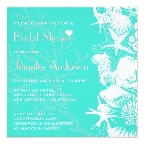Ocean Love Teal Seashells Chic Bridal Shower Invitations