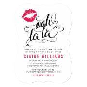 Ooh La La Pink Lips Typography Lingerie Shower