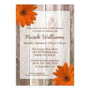 Orange Daisy Rustic Barn Wood Bridal Shower Personalized Invite