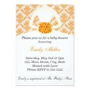 Orange Damask Bridal Shower Flat Card Invitation