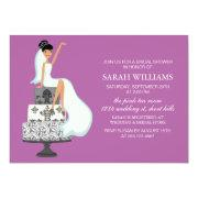 Orchid Bride on Wedding Cake Invitations