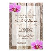 Orchid Rustic Barn Wood Bridal Shower Custom Announcements