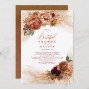 Pampas Grass Rust Terracotta Bridal Shower Invitation