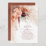 Pampas Grass Terracotta Floral Bridal Shower Invitation