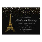Paris Eiffel Tower Black & Gold Party Invitations