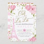 Paris Eiffel Tower Pink Gold Bridal Shower Invite