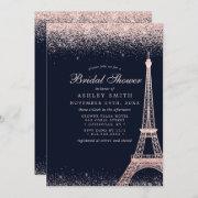 Paris Eiffel Tower Rose Gold Sparkle Bridal Shower Invitation