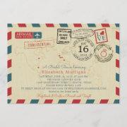 Paris France World Traveler Airmail Bridal Shower Invitation