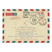 Paris France World Traveler Airmail Bridal Shower Invitation