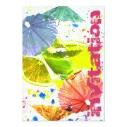 party cocktail with colorful paper umbrellas personalized invite