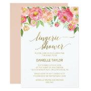 Peach And Pink Peony Flowers Lingerie Shower