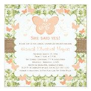 Peach Burlap Butterfly Bridal Shower