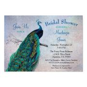 Peacock Bridal Shower Invitations Vintage Blue Bird