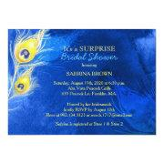 Peacock Feather Cobalt Blue Surprise Bridal Shower Invitation