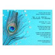 Peacock Feather Jewels Aqua Bridal Shower Invitation