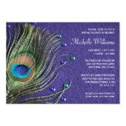 Peacock Feather Jewels Purple Bridal Shower Invitations