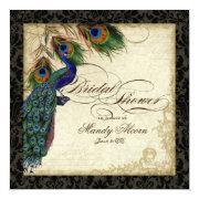 Peacock & Feathers Bridal Shower Invite Black Tan