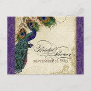 Peacock & Feathers Formal Bridal Shower Purple Invitation Postinvitations