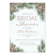 Pine Cone Bridal Shower Invitation, Winter Wedding Invitation