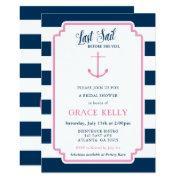 Pink And Navy Nautical Bridal Shower Invitation