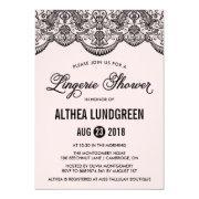 Pink & Black Brocade Lace Lingerie Shower Invite