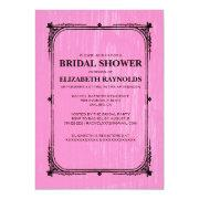 Pink Black Western Barn Wood Bridal Shower Invites Invitation