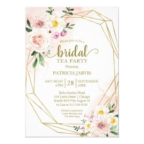 Pink Blush Floral Gold Bridal Shower Tea Party Invitation