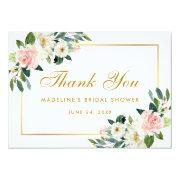 Pink Blush Floral Gold Bridal Shower Thanks Invitations