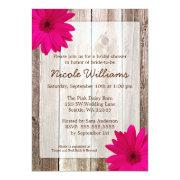 Pink Daisy Rustic Barn Wood Bridal Shower Custom Invites