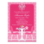 Pink Damask And Chandelier Bridal Tea Party