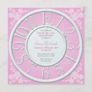 Pink Floral Around The Clock Bridal Shower Invite