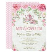Pink Floral Bridal Shower Kitchen Tea Party Invite