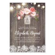 Pink Floral Mason Jar Rustic Lace Bridal Shower
