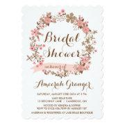 Pink Floral Wreath Bridal Shower Invitation