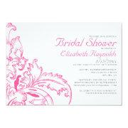 Pink Flourish Bridal Shower Invitations Personalized Announcements