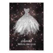 *~* Pink Glitter Bridal Dress Bridal Gown Shower Invitation