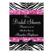 Pink Glitter Zebra Bow Bridal Shower Invitations