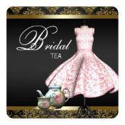 Pink Gold And Black Damask Bridal Tea Party
