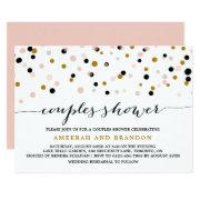 Pink, Gold & Black Confetti Dots Couples Shower