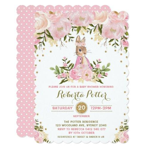 Pink Gold Floral Bunny Rabbit Bridal Shower Invite