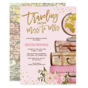 Pink & Gold Floral Travel Bridal Shower Invitation