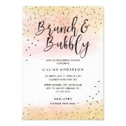 Pink Gold Glitter Brunch And Bubbly Bridal Shower