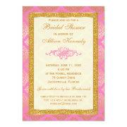Pink, Gold Glitter Damask Bridal Shower Invitation