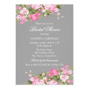 Pink Gray Floral Shabby Chic Bridal Shower Invite