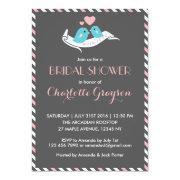 Pink Grey Love Birds Bridal Shower Invitation